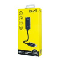 Budi Lightning to 3.5 mm Headphone Jack+ Lightining Adapter,M8J139D-BLK(DC139DB)
